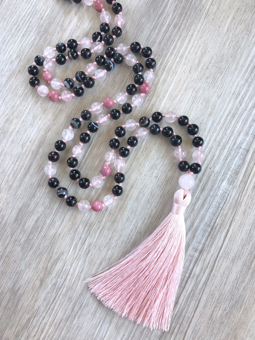 Auralite Macrame Necklace Knotted Beaded Necklace Pyrite /& Lepidolite Mala Beads 108 Mala Necklace: Auralite Amethyst Amethyst Mala