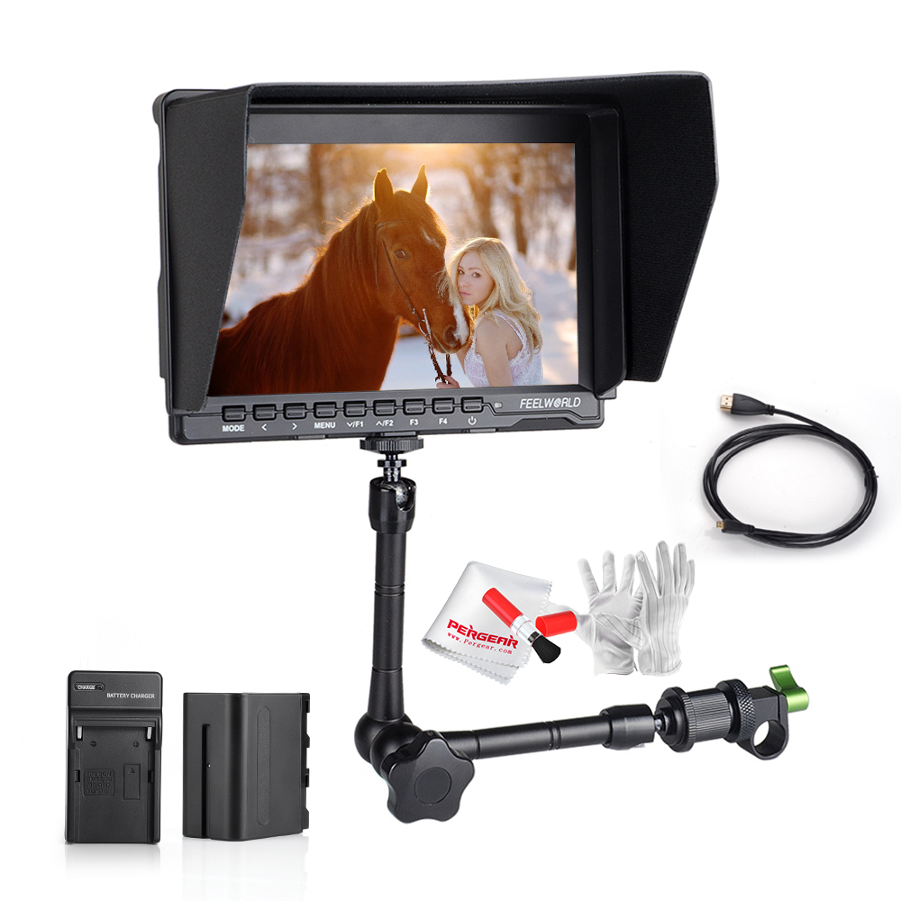 Feelworld FW759 IPS Field Monitor 1280*800 On-camera Monitor w/ 6000mAh Battery kit + 11 Magic Arm + 3 in 1 Cleaning Kit