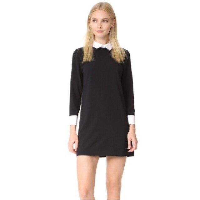 3c357f323 Vestido negro Con Cuello Blanco de Manga Corta Vestido de Verano de La  Escuela Estilo Preppy