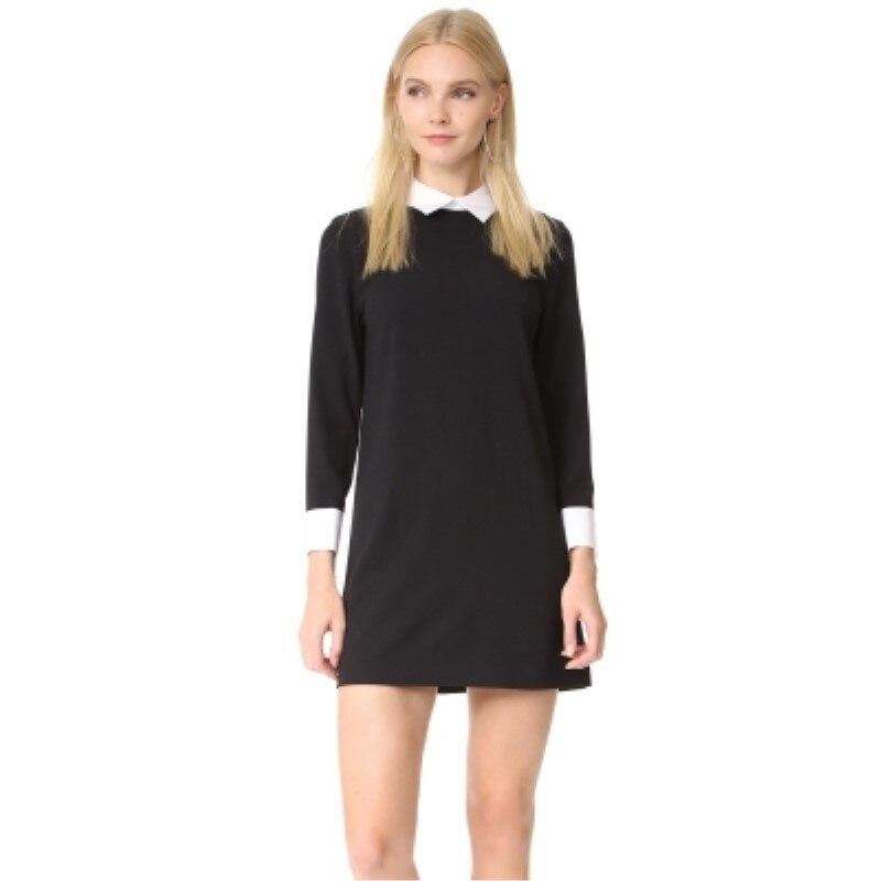 zwarte jurk witte kraag