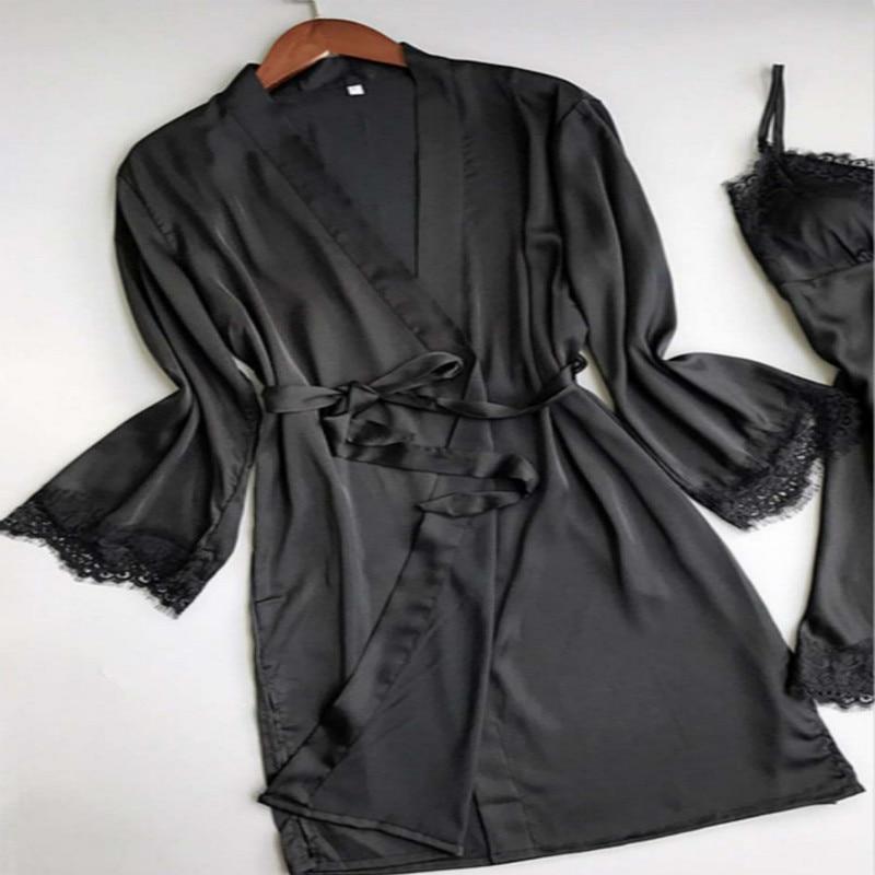 1 Stücke Mode Frauen Sexy Seide Satin Pyjamas Nachtwäsche Vintage Midi Nacht-robe Nacht Kleid
