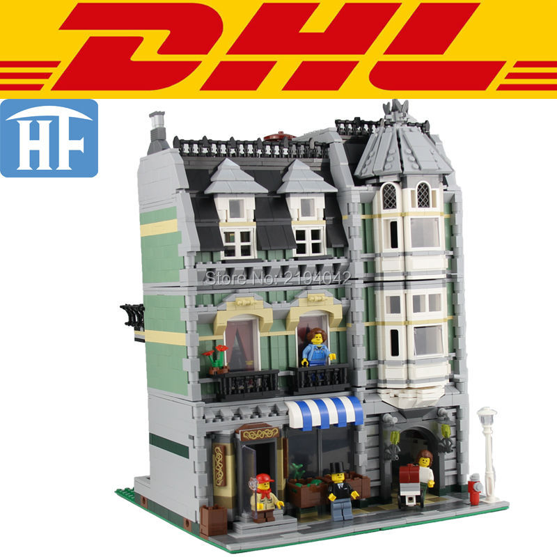 ФОТО 2017 2352Pcs City Street Creator Green Grocer Model Building Kits Figures Blocks Bricks Toys For Children Compatible With 10185