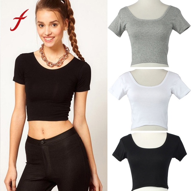 e5c2809ee34011 Feitong 2018 New AA Style Women Summer Sexy Crop Tops Short Sleeves O-Neck  Casual Slim Basic Tees Tops Cropped T-shirt For Women
