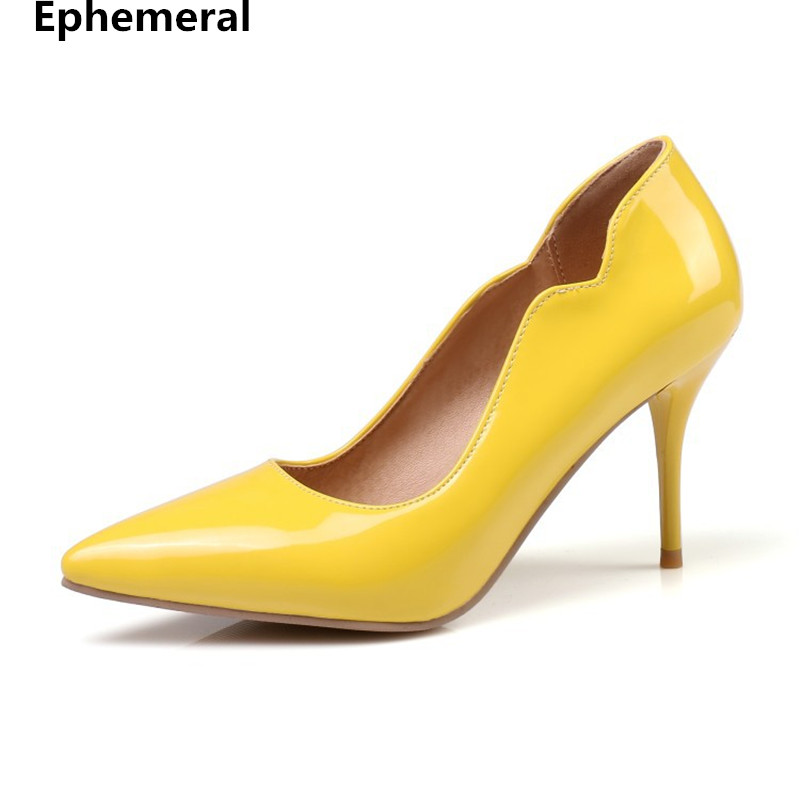 Women pu leather shoes high heels pumps pointed toe 8cm heel for wedding party new arrivals big size 3-48 yellow black Ephemeral new spring summer women pumps fashion pointed toe high heels shoes woman party wedding ladies shoes leopard pu leather