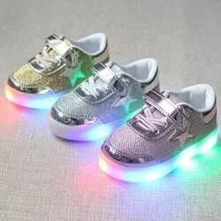 Новинка, весна-осень, светодио дный, детская обувь с подсветкой, светящиеся кроссовки для маленьких мальчиков и девочек, 21-30
