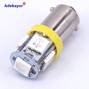 Image 5 - 300X T11 BA9S 5 SMD 5050 Led lampen 5SMD T4W 1445 Q65B H6W 182 53 57 Auto Indikatoren Licht innen Birne Keil Lampe 7 farbe