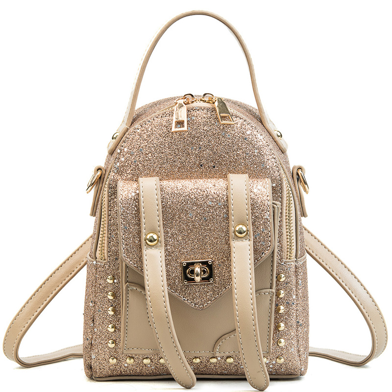 LXTAZG New Fashion Women Gold sequins Backpack girls Cool rivet small School Bag Travel Bags Luxury
