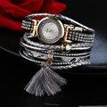 De Lujo Las Mujeres del Reloj de Pulsera de Cuero Reloj de pulsera de Oro de Las Mujeres de Cuarzo Ocasional Clásico Reloj de Cuarzo Reloj de Pulsera Electrónica