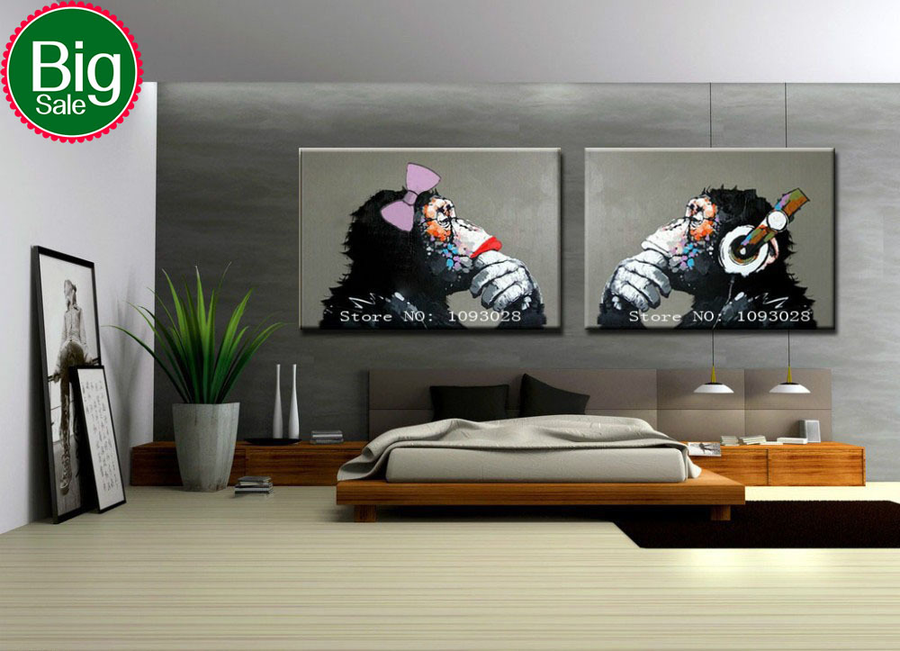 Hand painted gorilla wall art picture living room home - Contemporary wall art for living room ...