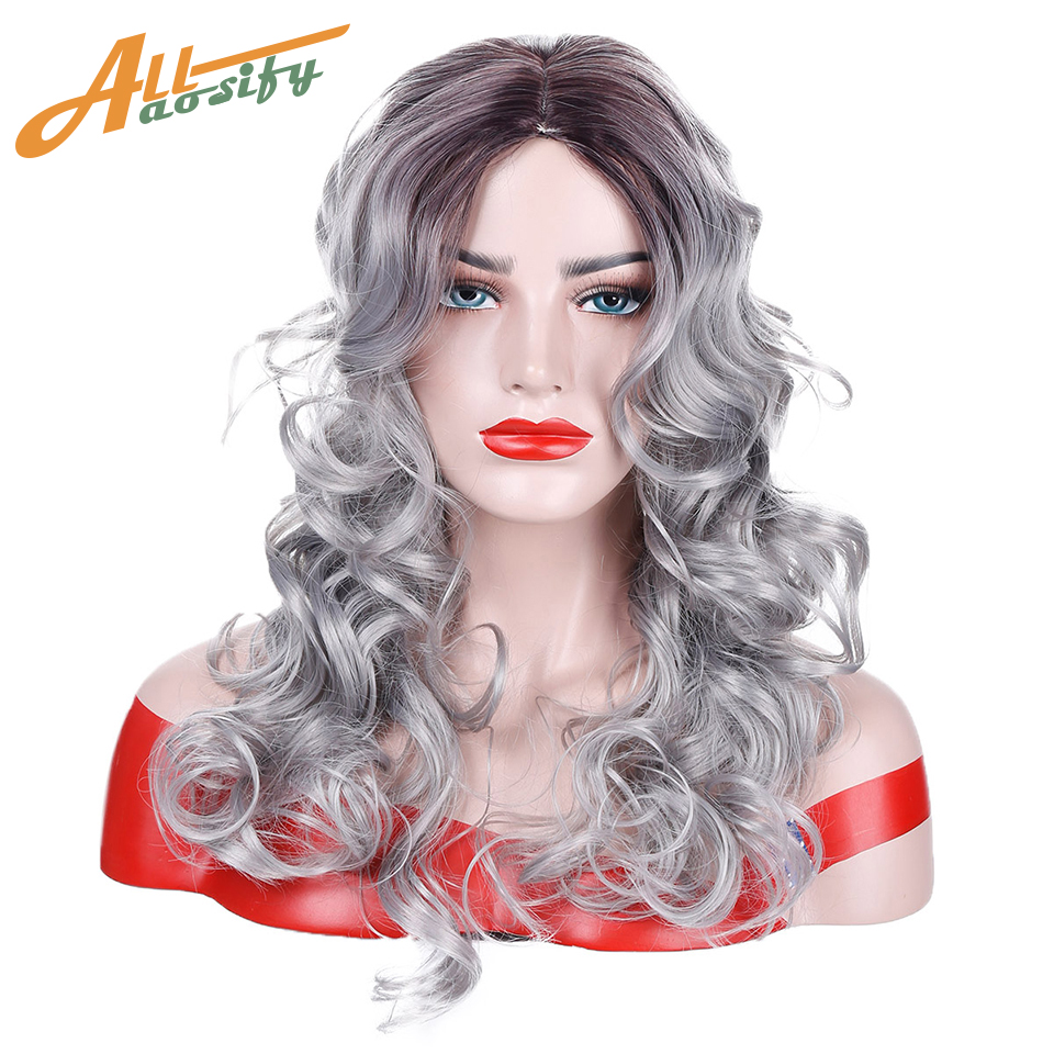 Allaosify Long Curly Omber Brown and Grey Hair Wigs for Women Synthetic High Temperature Fiber Costume Cosplay Wig