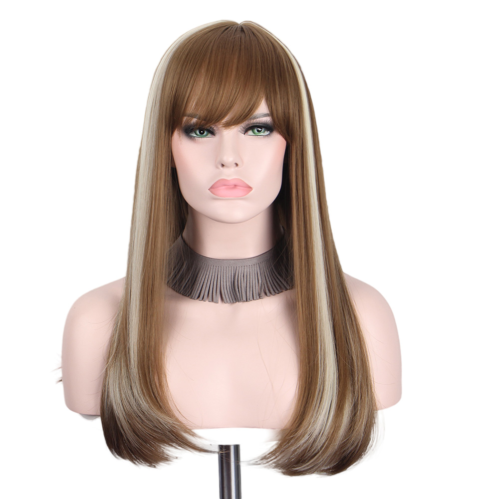 Long Straight Wigs with Bangs for Black Women Colorful Brown Gray Cosplay Wig Hair Synthetic Anime Anxin