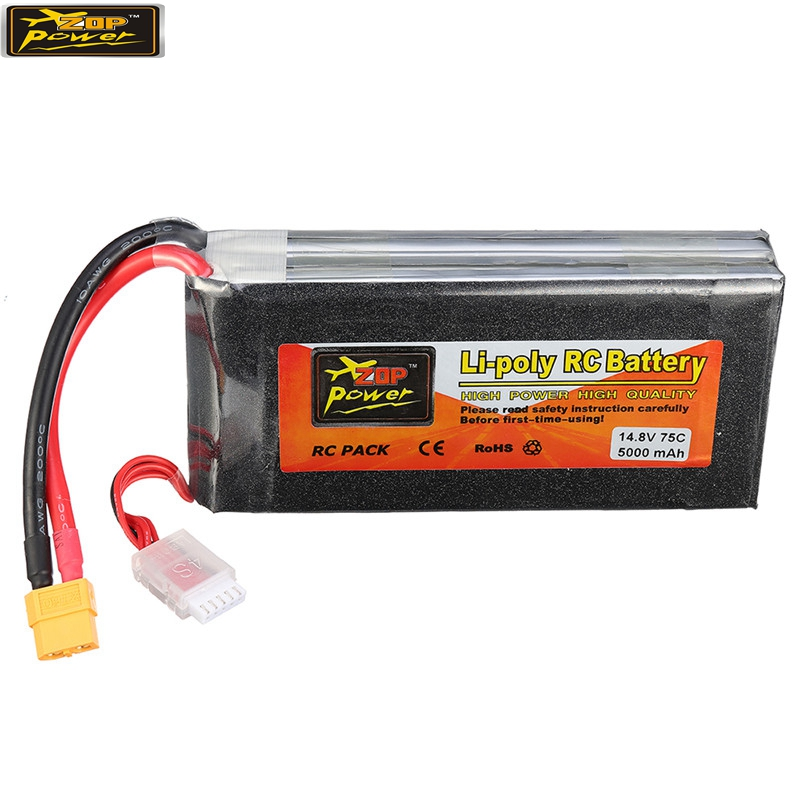 ZOP Power 14.8V 5000mah 75C 4S Rechargeable Lipo Battery XT60 Plug For RC Quadcopter image
