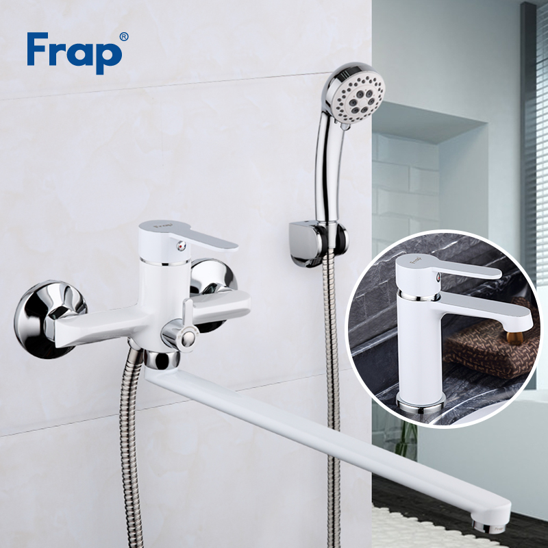 Frap 1 Set White Bath Shower Faucets Set Bathroom Mixer Shower Bathtub Taps With Basin Faucet  torneira shower head F2241+F1041Frap 1 Set White Bath Shower Faucets Set Bathroom Mixer Shower Bathtub Taps With Basin Faucet  torneira shower head F2241+F1041