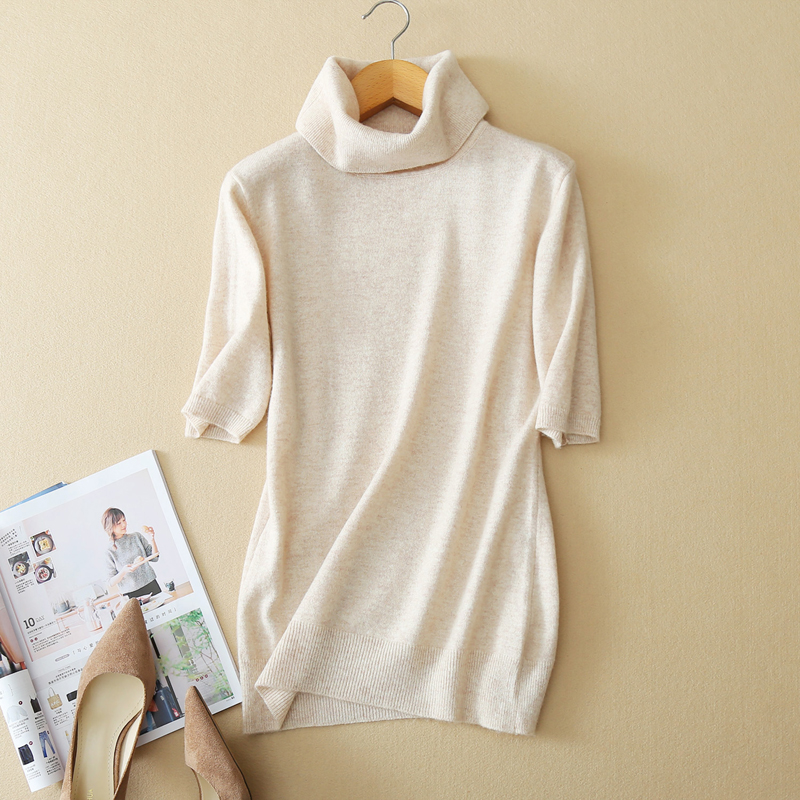 Autumn Short Sleeve Summer Women O Neck Cashmere Blend Knitted Pullovers Short Sleeve Slim Style Jumper