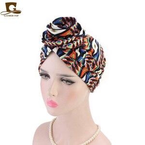 Image 5 - חדש אופנה אלגנטי 3D פרח טורבן נשים סרטן חמו בימס כובעי מוסלמי Turbante מסיבת חיג אב בארה ב אביזרי שיער