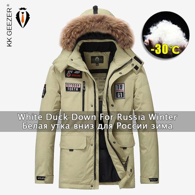 מעיל חורף גברים למטה ז קט צבאי 80% ברווז שחור חמים מעיילים מרופדים עבה מרופדת שלג מעיל פרווה רופף מזדמן עמיד למים מעיל מעיל רוח מעיל רב מעיל כיס בתוספת גודל