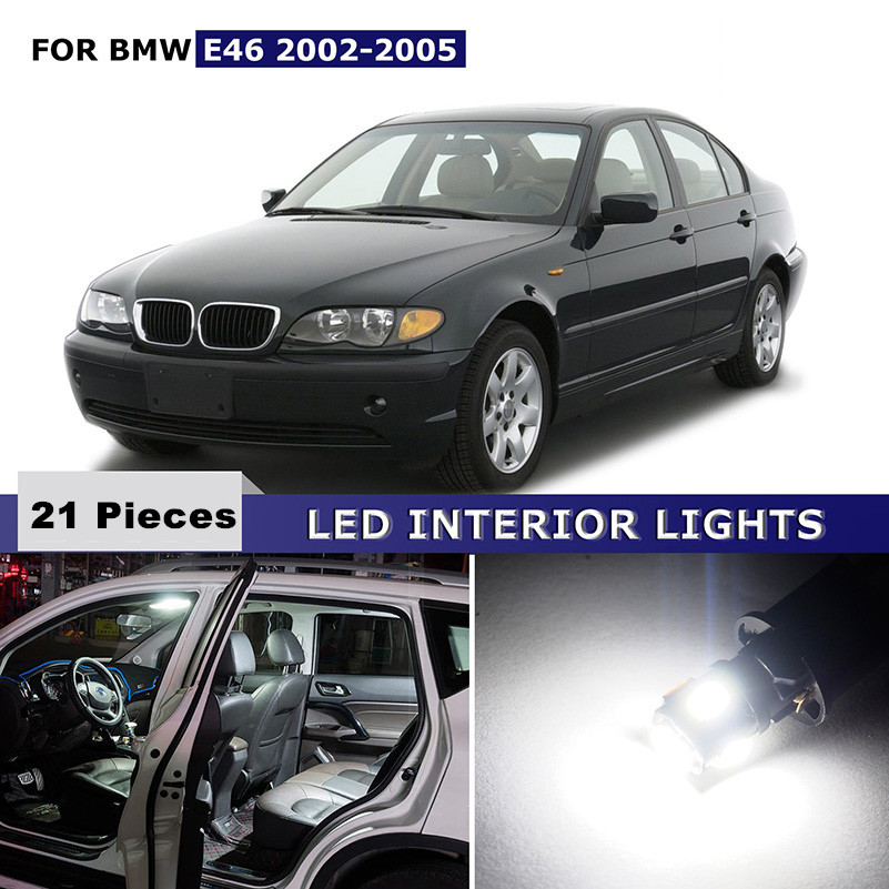 21x Canbus White Car Interior Lights Package Kit LED Bulb For BMW E46 2002-2005 Reading Dome License Lights Bonus spare Lamp 17pcs led canbus interior lights kit package for bmw 5 series e60 e61 2004 2010