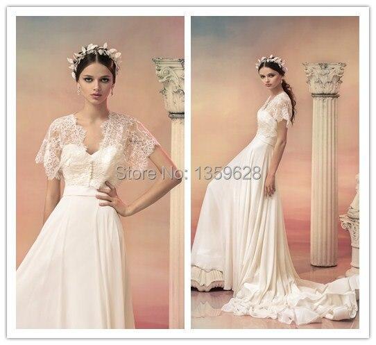 Custom Made 2014 Short Sleeve Greece style bridal wedding gowns WD ...
