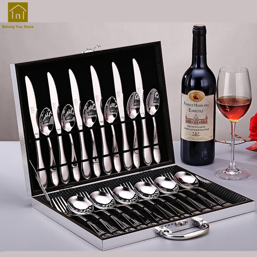 European Dinnerware Stainless Steel 24pcs Cutlery Set Luxury Table Facas Flatware Set Aparelho De Jantar Party Tableware LKF095