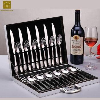 European Dinnerware Stainless Steel 24pcs Cutlery Set Luxury Table Facas Flatware Set Aparelho De Jantar Party Tableware LKF095