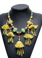 2016 New Bohemia Necklace Pendant For Women Fashion Colorful Beads Silk Tassel Choker Statement Jewelry Accessorieson