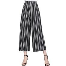 купить 2019 Summer European Style New Pleated Women Wide Leg Pants Loose Chiffon Anklet Length Pant High Elastic Waist Trousers по цене 846.34 рублей