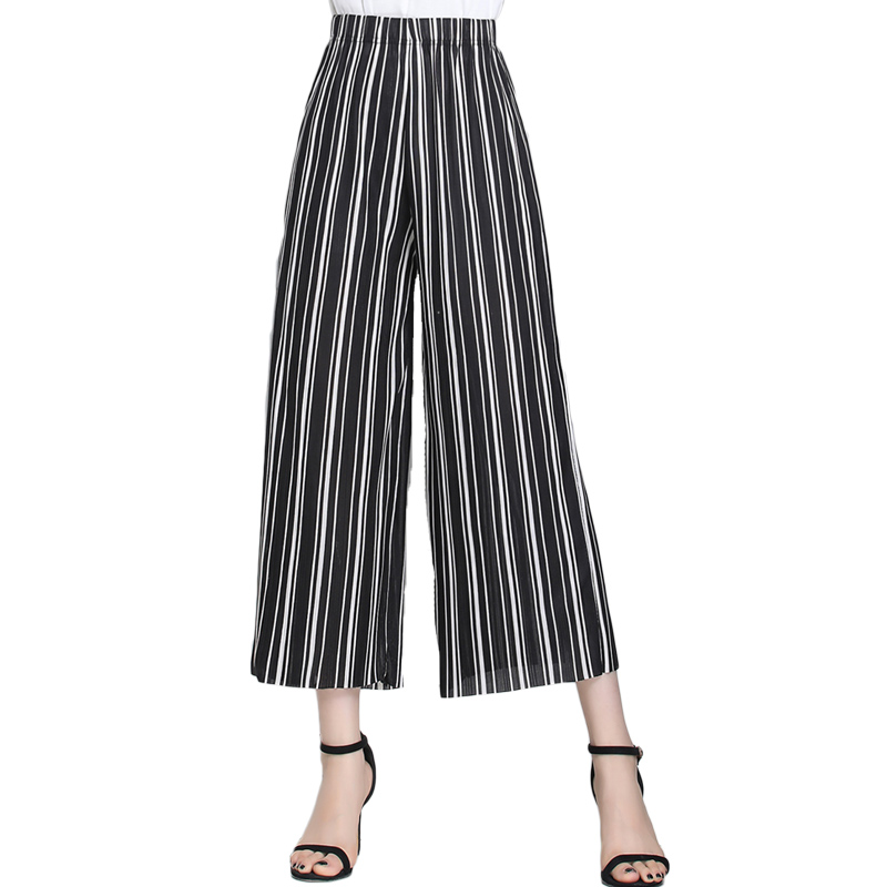 2019 Summer European Style New Pleated Women   Wide     Leg     Pants   Loose Chiffon Anklet Length   Pant   High Elastic Waist Trousers