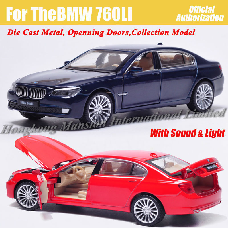 1:32 Scale Alloy Diecast Car Model For TheBMW 760Li Collection Pull Back Toys Car With Sound&Light- Champagne/ Silver/ Red/ Blue super bowl ring 2019