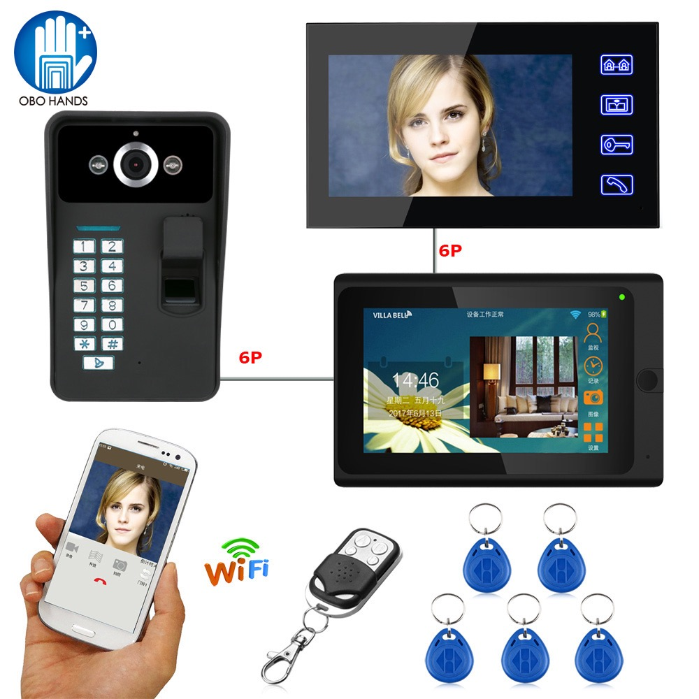7 Wifi Video Doorphone Doorbell Intercom System RFID Fingerprint IR Camera with 2 Indoor Monitor 1000TVL Waterproof IOS/Android