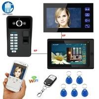 7 wifi видеомонитор Дверные звонки домофон Системы RFID отпечатков пальцев ИК Камера с 2 indoor Мониторы 1000tvl Водонепроницаемый IOS/ android