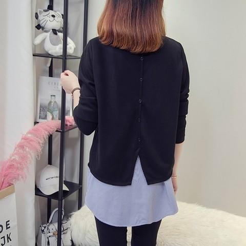 Nkandby Plus size Femme Striped Patchwork Shirts 2018 Autumn Korean Fake two piece Blouses For Women Loose 5XL 4XL Oversized Top Karachi