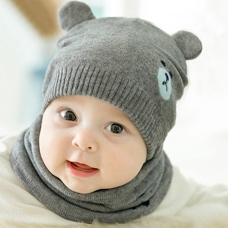 1 Set Cute Cartoon Bär Baby Hut Schal Winter Gestrickte Warme Neugeborenen Beanie Solid Farbe Schützen Ohr Kappe O Ring Schals Baby Motorhaube Tropf-Trocken