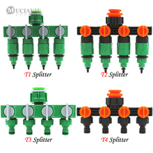 Garden-Water-Splitter Hose-Irrigation-System-Fitting MUCIAKIE W/Valve 1/2''-to-3/4''-to-1''-connector