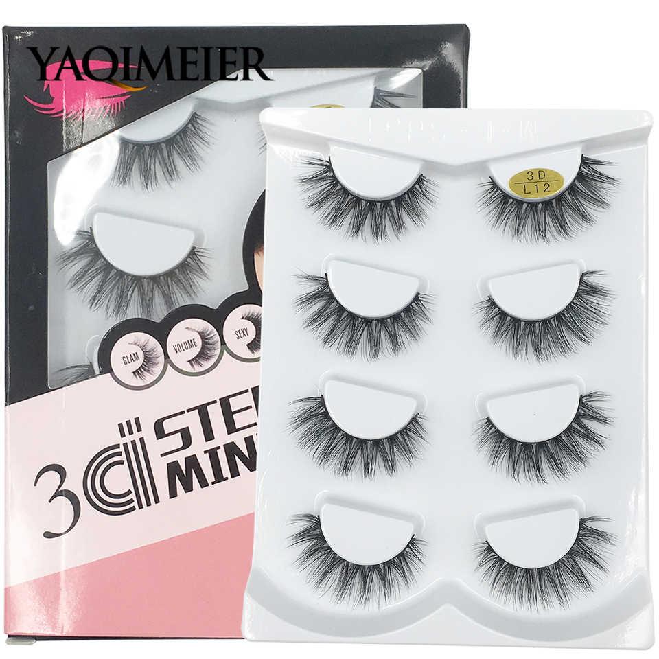 58a3fbb73a3 YAQIMEIER 4 Pairs/Set False Eyelashes Handmade Volume Messy Natural  Eyelashes 3d Mink Lashes Extension
