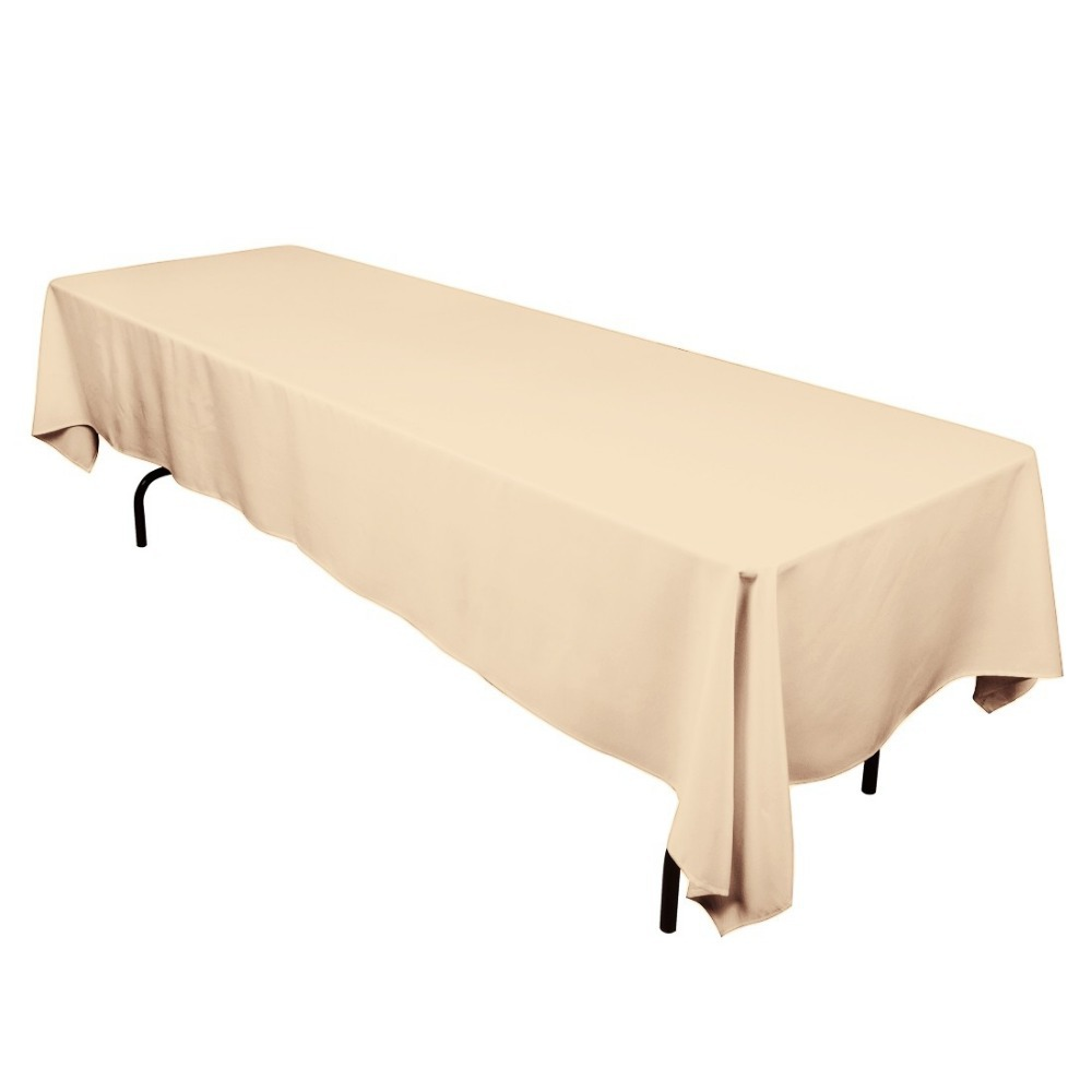 HK DHL Stain Feel 220*330cm Polyester Rectangle Tablecloth Beige for Wedding, 5/Pack