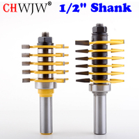 2pc 1 2 Shank Adjustable Box Finger Joint Router Bit Set C3 Carbide Tipped Wood Cutting