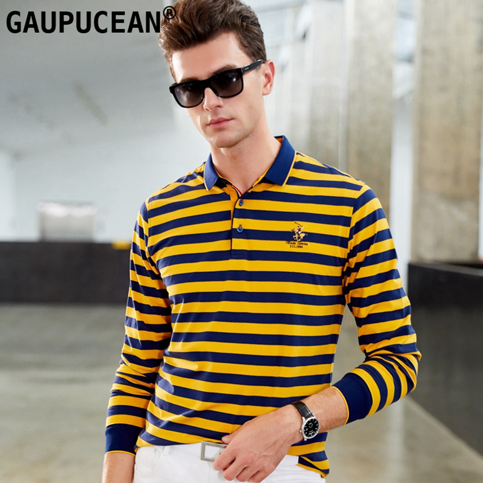 95% Cotton 5% Spandex Men Long Sleeve   Polo   Shirt Asian Sizes Male Anti-pilling Quality Fashion Embroidery Yellow Man   Polo  -shirt