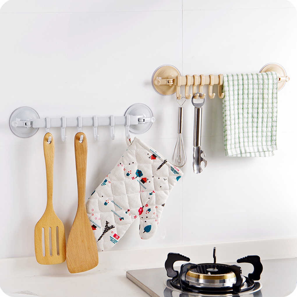2019 New Kitchen Bathroom Non-trace Strong Sucker Rack Hook With 6 Hooks For Towel Spoon