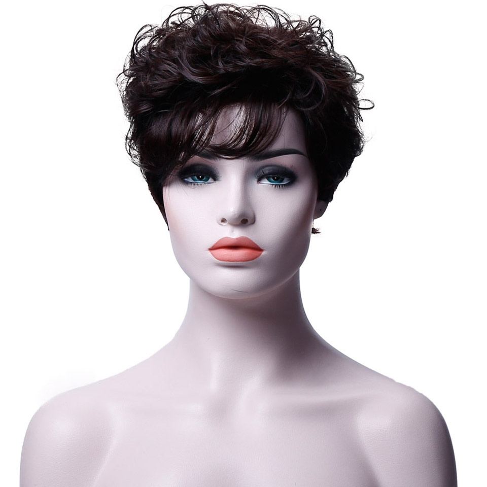 JINKAILI WIG Hot Pixie One Side Part Short Messy Kinky Curly Synthetic Hair With Bangs Capless Cap Wigs