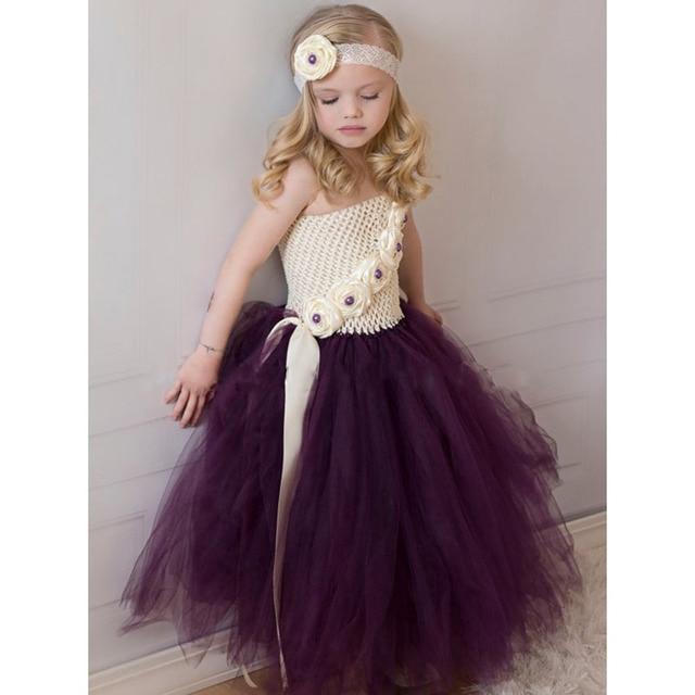 Marfil berenjena púrpura Flower Girl Tutu vestido bebé Niñas foto ...