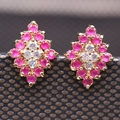 Trendy Jewelry imitation Ruby&Emerald Gem CZ Crystal Rhombus Gold Plated Earrings