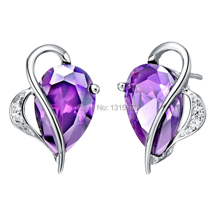 Earring Shining Heart Shape Love Brand New Gem Stone Earrings Stud Purple Amethyst Red Ruby Women 18k White Gold Filled Options In From