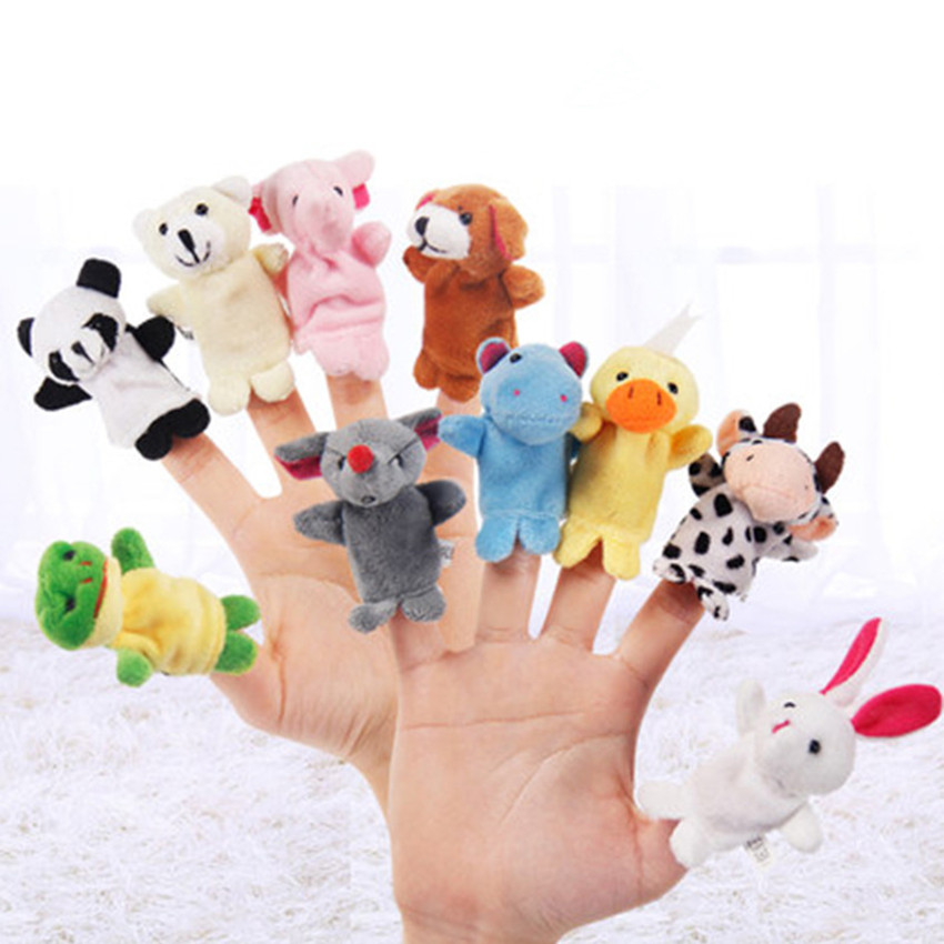 5PCS Animal Finger Puppet Plush Toys Puppets Hand Dolls Cute Cartoon Animal Doll Child Baby Favor Dolls Kids Toys