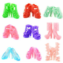 10 Pair Fashion Girl Dolls Toys High-heeled Shoes Boots Stage Shoes Sandals Doll Accessories for Children Girls Birthday Gift(China)