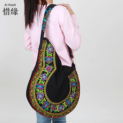 XIYUAN BRAND women Ethnic style original design female shoulder bag chinese national vintage girls canvas Embroidered hand bags ethnic embroidered black cami dress for women