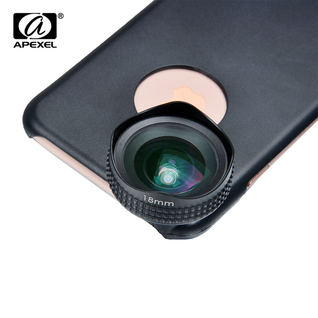 Apexel Optic Pro Lens Super Wide Angle 100 degree High Clarity Cell Phone Camera Lens Kit for iPhone X 8 More smartphones 18MM 4
