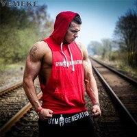 YEMEKE Print Tank Tops Hoodie Fitness Mens Bodybuilding Workout Tee Crossfit Muscle Male Activewear Red Black