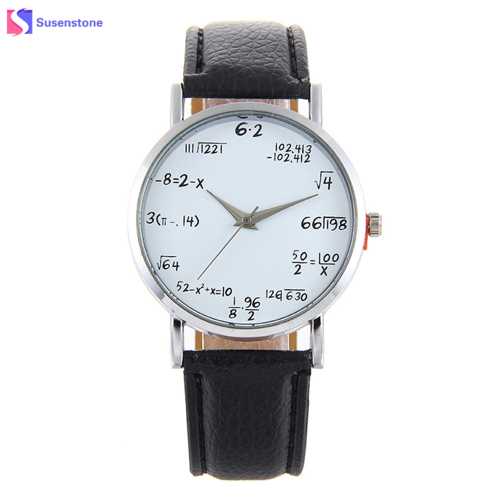 Fashion Mathematical Equation Print Women Watches Leather Band Analog Alloy Quartz Wrist Watch Ladies Casual Clock Female Watch female simple fashion casual wrist watch women love heart dial leather band analog alloy quartz wristwatch loves gift