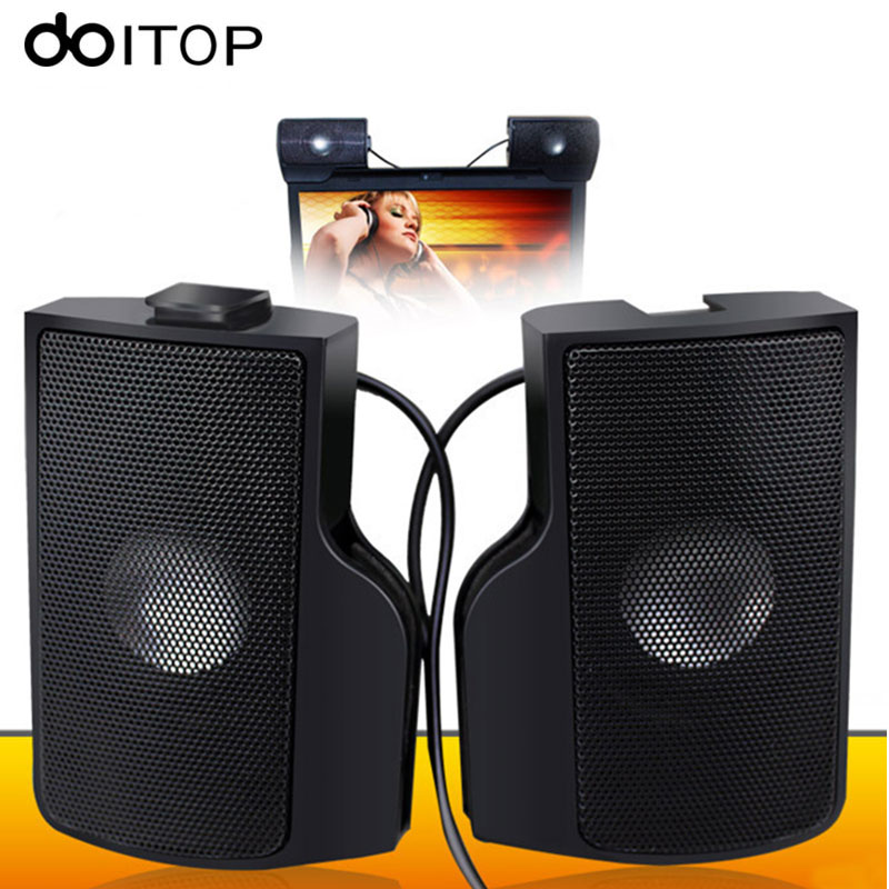 DOITOP Portable Mini USB Stereo Speaker Soundbar Clip-on Speaker for Notebook Laptop Computer PC Music Player with Clip A3