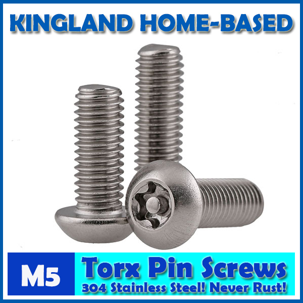 M5 Torx 6-Lobe Pan Round Head Six Lobe Pin In Torx Security Screw Bolt 304 Stainless Steel Pickproof Theftproof 100pcs lot st4 2 l stainless steel six lobe round head self tapping screw sus 304 torx screw torxstnp